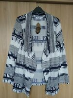 Womens Knitted Multi Geometric Print Open Front Cardigan Size 12/14 BNWT
