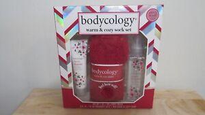 Bodycology Cherry Blossom Warm & Cozy Sock, Body Cream, Fragrance Mist Gift Set