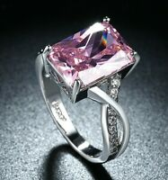 18K White Gold Plated Pink Stone Cocktail Ring Made with Swarovski Crystals