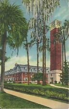 Old Vintage Chaudoin Hall, Hulley Tower Stetson University Florida 1938 Postcard