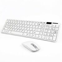 Slim 2.4G  Wireless Keyboard and Cordless Optical Mouse Combo For PC white