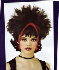 Chunky Gothic Wig Black with Red Streaks Goth Punk Evil Pixie 90s Grunge Rocker