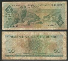CONGO - 50 Francs 1962 Fine  Pick 5