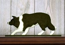 Border Collie Dog Figurine Sign Plaque Display Wall Decoration Black