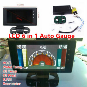 LCD Digital 6 in1 Car Meter LED Oil Pressure Gauge RPM Water Temp VOLT Universal