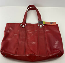 Tory Burch Classic Red Patent Leather Tote/Handbag Double T Silver Tone Logo