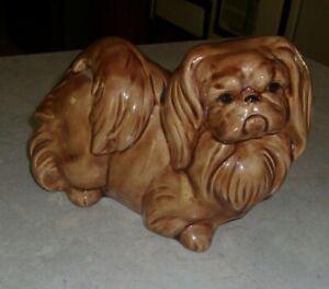 "Vtg Mid century '60's CERAMIC FIGURINE STATUE Pekingese Dog 8"" Hand Cast Painted"