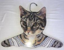 Annie Rhinehart Litho Tiger Cat Wooden Coat Hanger 11 x 16