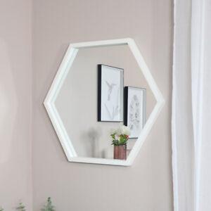 Large White Hexagon Mirror wall mounted shape home decor retro scandi bathroom