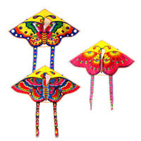 1Set 90*50CM outdoor sports butterfly flying kite children toy with handle line<