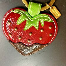 NEW Coach Patent Leather Chocolate Dipped Studded Strawberry Keychain