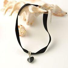 Black Velvet Choke Women Handmade Punk Necklace Gothic Jewelry Heart Pendant