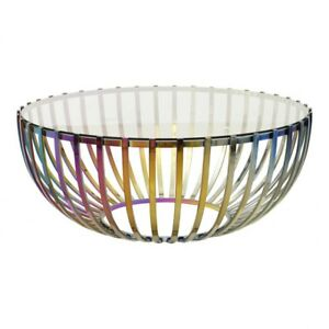"""42"""" W Drum Coffee Table Solid Tempered Glass Iridescent Finish Stainless Steel"""
