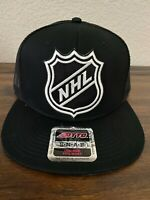 NHL National Hockey League Shield Classic Logo Trucker Snapback Hat Black Mesh