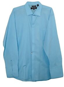Stacy Adams Men's Long Sleeve French Cuff Dress Shirt Size 18.5 36/37  Blue