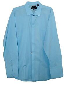 Stacy Adams Men's Long Sleeve French Cuff Dress Shirt Size 18.5 36/37  Blue