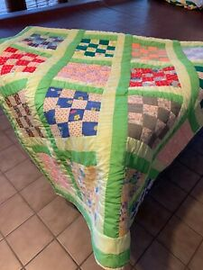 "Handcrafted patchwork queen size quilt - green background 94"" x 94"""