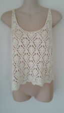 SIZE 10 - SIZE 12 / SIZE S - M WOMEN'S WHITE CROCHETED SLEEVELESS 'JAY JAYS' TOP
