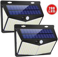 208LED Outdoor Solar Powered Lights PIR Motion Sensor Garden Security Wall Lamp