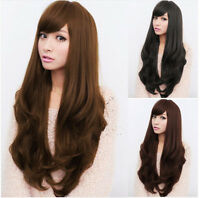 Sexy Women Long Curly Wavy Full Wig 3 Color Synthetic Hair Wigs+Free Cap