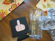Middle Finger beer pint glass I Am 49+ and neoprene coozie koolie