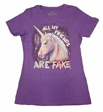 "Juniors Goodie two sleeves Unicorn ""all my friends are fake"" Short sleeve Sz L"