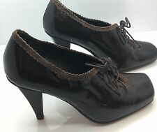 KENNETH COLE REACTION Black Patent Leather Lace-Up Oxford Granny Heels Womens 6M