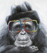 4ea01bfdd4b Monkey wearing glasses canvas wall art print 22   x 16   ...