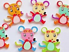 10 WOODEN MOUSE SEWING CRAFT BUTTONS - EMBELLISHMENT 30mm - Scrapbook - Cards