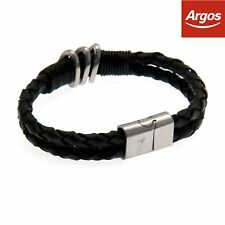 0e9e17f24405 Official Liverpool FC Stainless Steel Leather Crest Bracelet - Black.