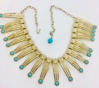 Wide Cleopatra Bib Necklace Faux Turquoise Egyptian Revival Vintage Jewelry