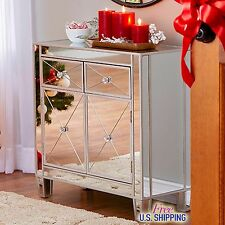 Modern Mirrored Cabinet Chest Bedside Night Stand Drawers Storage Accent Silver