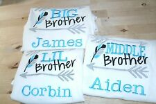 Brothers Tribal Big, Little, or Middle Brother Personalized Sibling Shirt