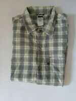 THE NORTH FACE mens short sleeve shirt Size M blue & white check loose fit