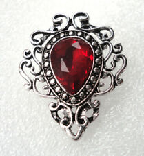 Victorian Style Gothic Brooch Vampire Costume Jewelry Blood Red Crystal #2