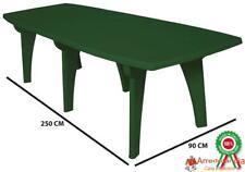 Tavolo tavolino rettangolare 250x90 Lipari in dura resina di plastica verde con