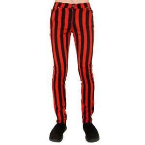 RUN AND FLY - MENS INDIE PUNK RETRO 60S 80S MOD BLACK & RED STRIPED SKINNY JEANS