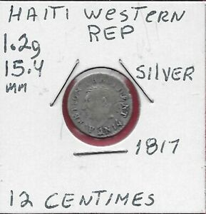 HAITI WESTERN REPUBLIC 12 CENTIMES (AN 14)1817 A.PETION PRESIDENT,YEAR 14,LARGE