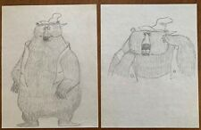 2 Orig T HEE Disney Animation Artist Pencil Character Drawings Brer / Br'er Bear