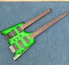 Double Neck Headless Electric Guitar And Bass Green Flame Maple Top body
