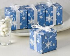 24 Winter Wishes Blue And White Snowflake Wedding Favor Boxes
