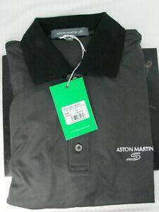 Unused Mens Aston Martin Golf  Drytec Short Sleeved  Shirt Black Size M