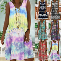 Womens Tie Dye Sleeveless Short Dress Summer Ladies Casual Beach V Neck Sundress