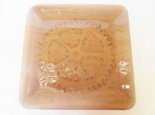 Handcrafted Fused Glass Plate Platter Square Bronze Transparent Kiln Carved Gear
