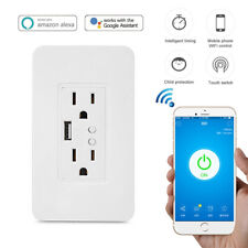 Smart WIFI Wall Socket Duplex Receptacle Touch Wireless In-Wall Outlet US Plug