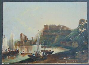 ANTIQUE WATERCOLOR SEASCAPE / LANDSCAPE PAINTING Dated 1845