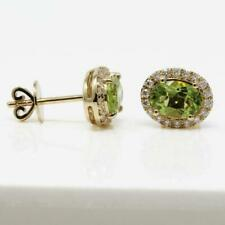 4.00Ct Oval Cut Green Peridot Diamond Halo Stud Earrings 14K Yellow Gold Finish