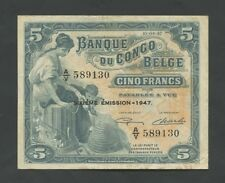 BELGIAN CONGO  5 francs  1947  P13Ad  Very Fine  Banknotes