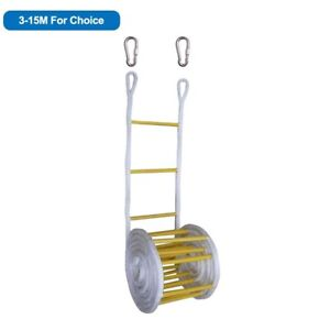 Fire Escape Ladder Emergency Safety Anti-Skid Rescue Rope 3-15 meters Portable