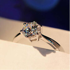 Size 7 White Gold Filled 10K Engagement Ring Claw Sapphire Wedding Gift Box gf9